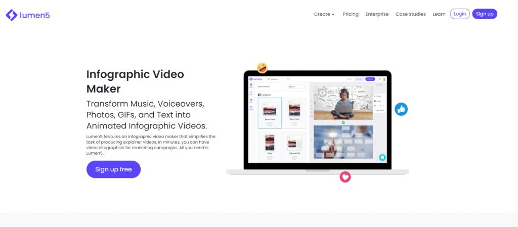Try Lumen5 infograpic video maker