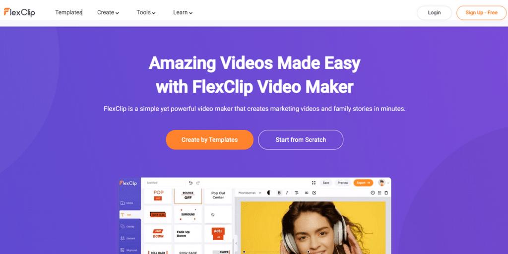 flexclip online text animation maker