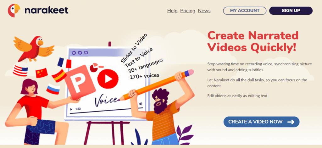 Narakeet text to speech video maker