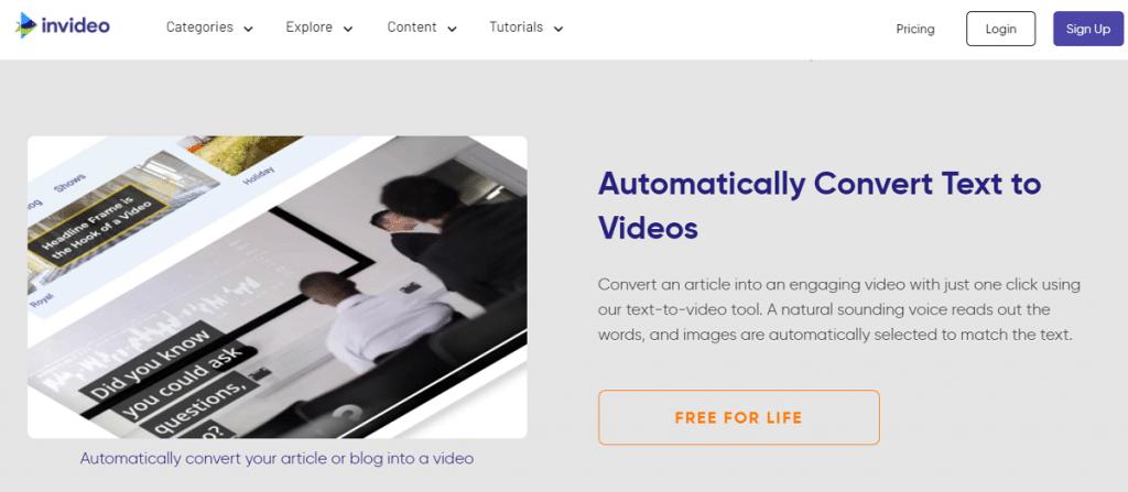 invideo text to speech video maker