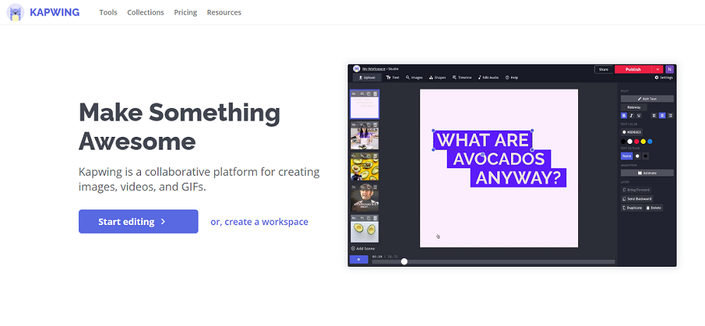Kapwing animated text generator online helps create text animation that rocks