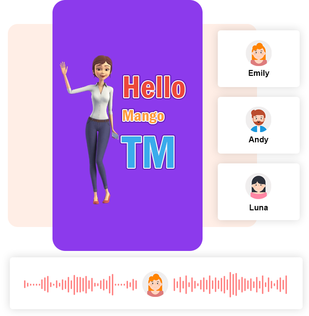 Mango Animate animated text generator online comes with Text to Speech services