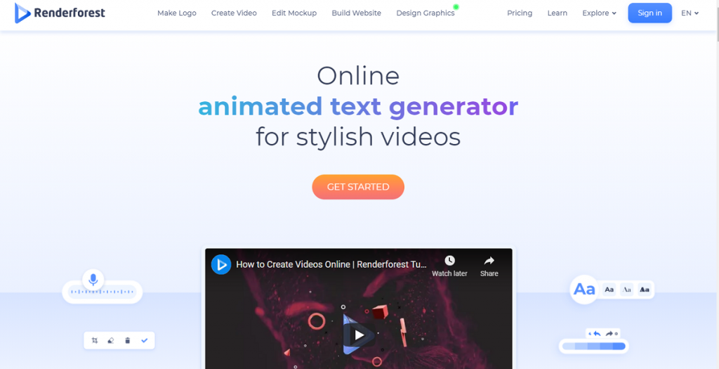 Renderforest animated text generator online